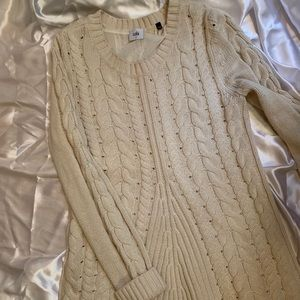 CAbi Cable-Knit Sweater, lace-up back detail Small